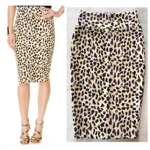 NWOT Thalia Sodi Neon Leopard Print Scuba Skirt